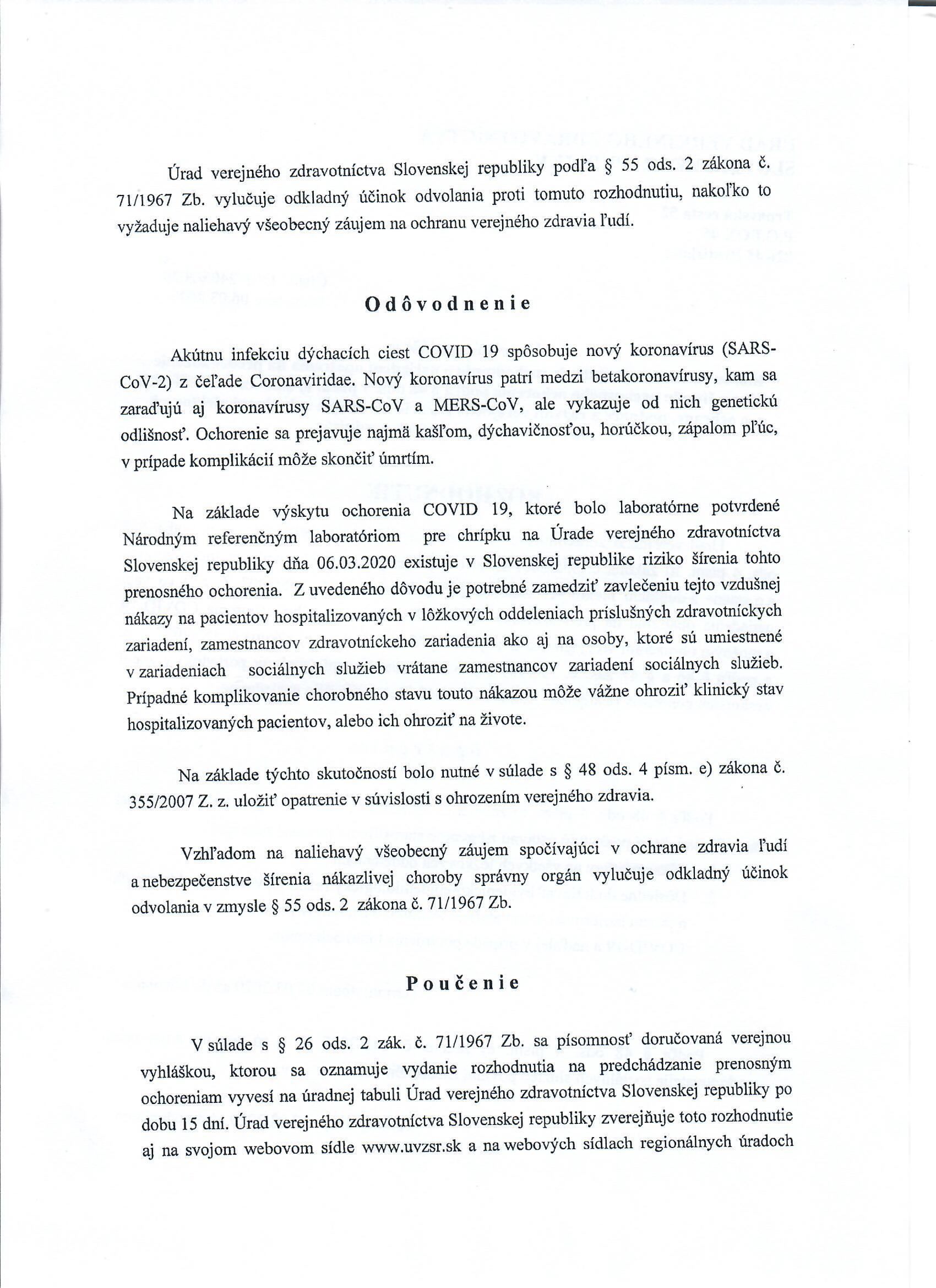 A Közegészségügyi Hivatal hirdetménye // Verejná vyhláška Úradu verejného zdravotníctva 2