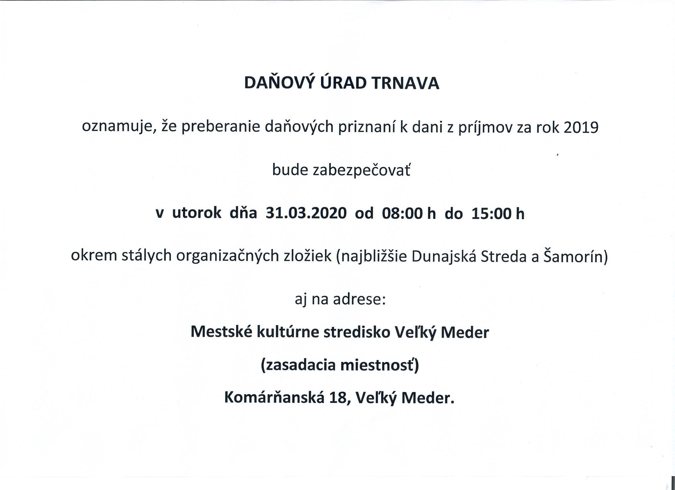 Értesítés - Adóhivatal // Oznámenie - Daňový úrad 1