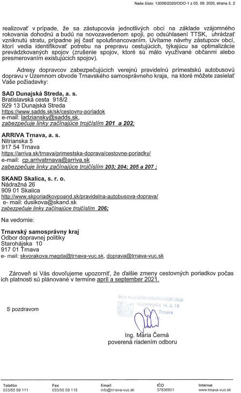 Autóbusz-menetrend változások // Zmeny v autobusových CP 3