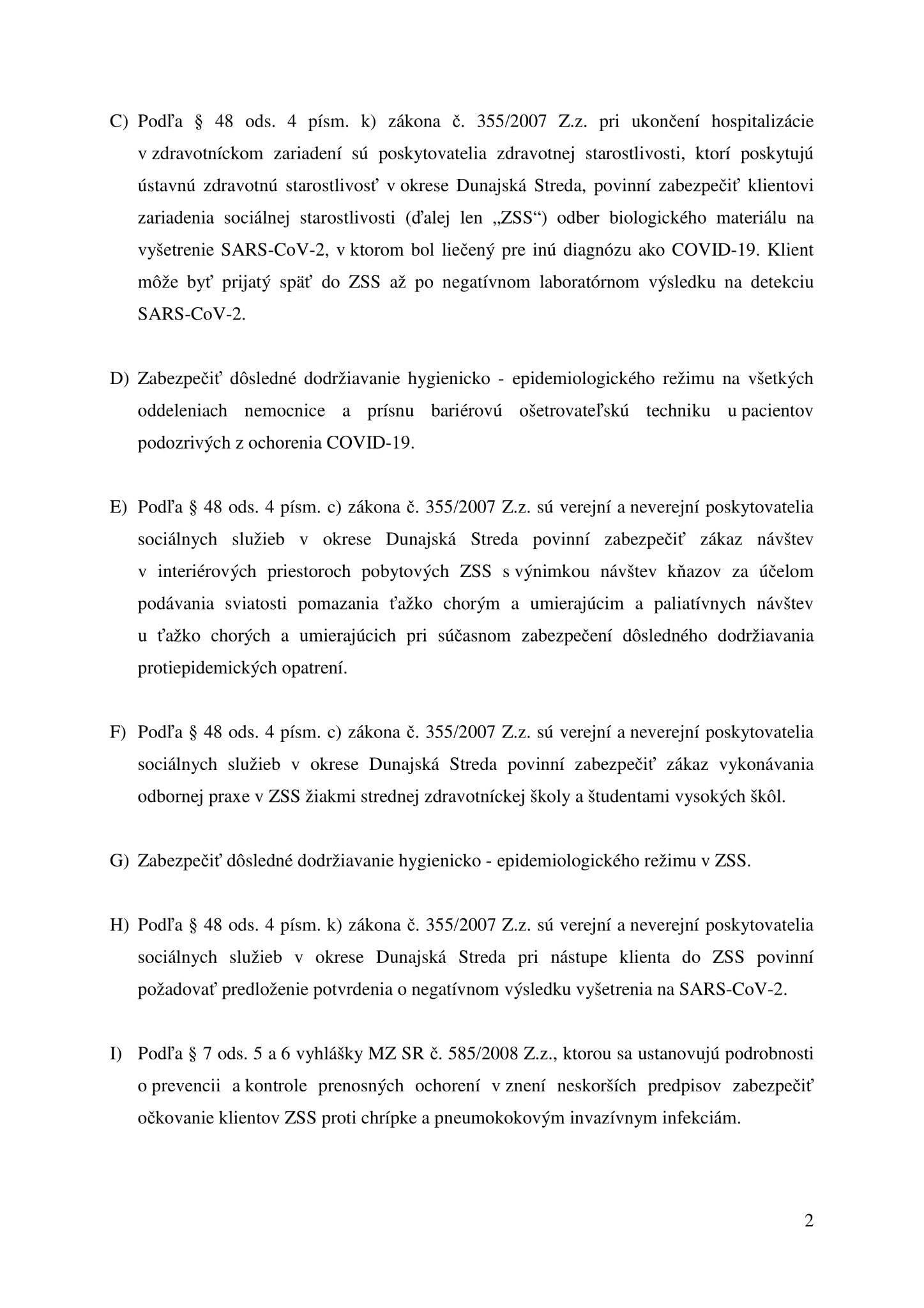 A Dunaszerdahelyi Regionális Közegészségügyi aktuális intézkedése // Opatrenie RÚVZ Dunajská Streda 2
