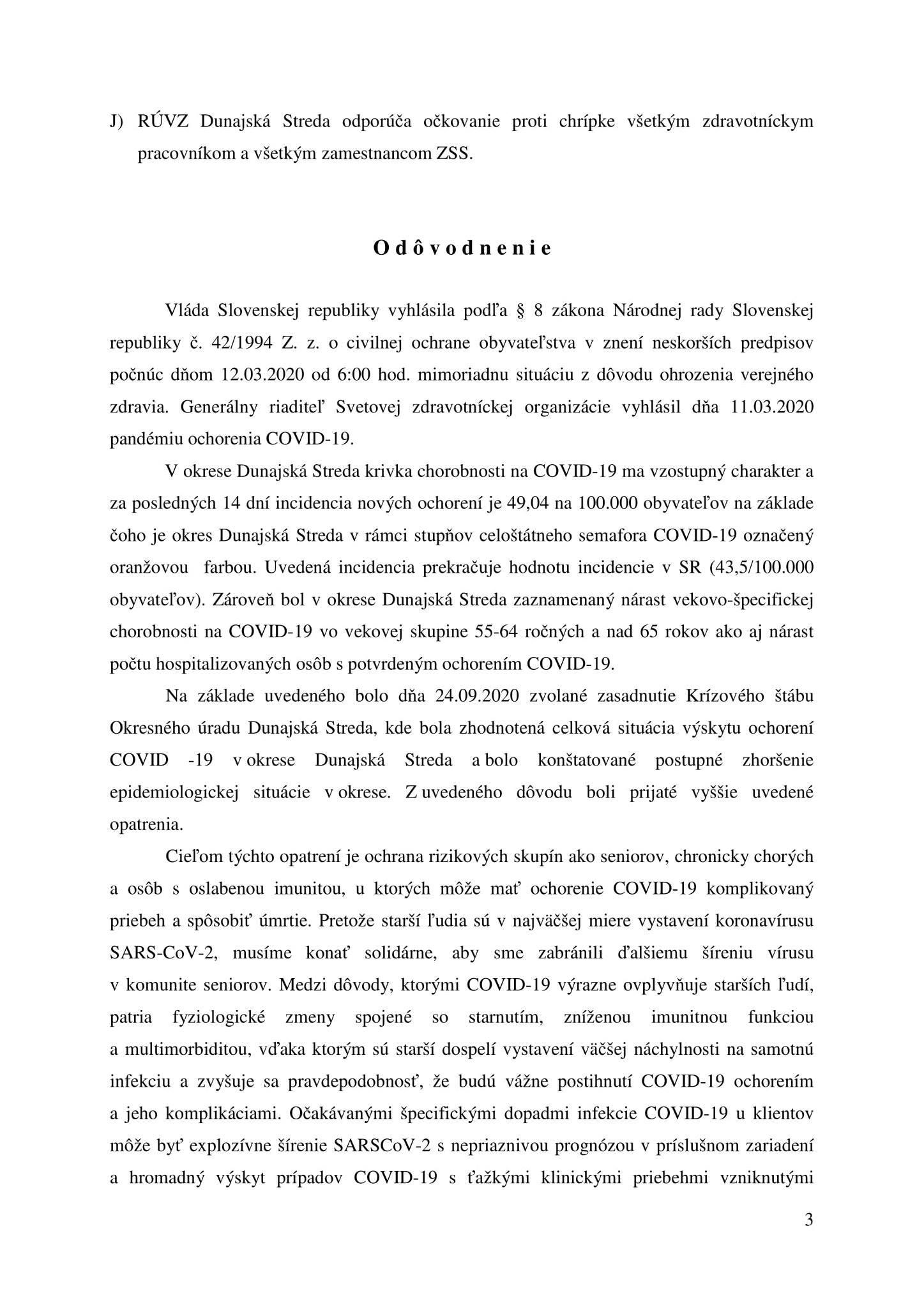 A Dunaszerdahelyi Regionális Közegészségügyi aktuális intézkedése // Opatrenie RÚVZ Dunajská Streda 3