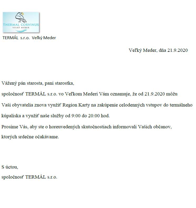 Értesítés - Termálfürdő / Oznam - Termálne kúpalisko 1