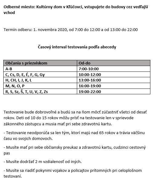 Testovanie na Covid-19 - informácie pre Kľúčovčanov 2
