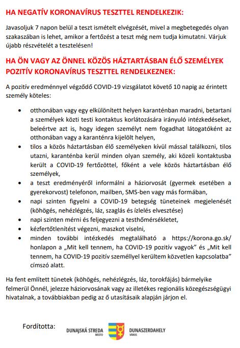Covid-19-tesztelés - Információk a kulcsodiaknak 6