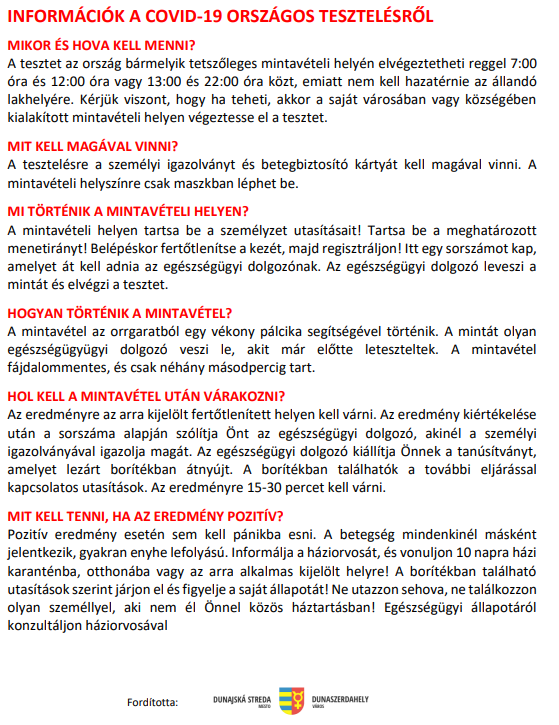 Covid-19-tesztelés - Információk a kulcsodiaknak 7